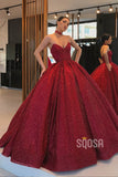 Ball Gown V-neck Burgundy Long Formal Evening Dress with Pockets QP1328|SQOSA