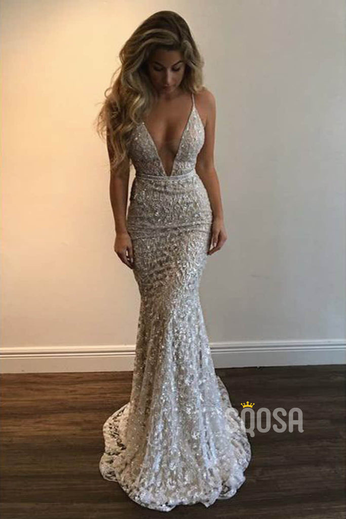 Mermaid/Trumpet Prom Dress V-neck Exquisite Lace Formal Evening Dress QP1331|SQOSA