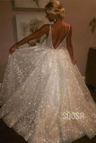 A-line V-neck Sparkle Prom Dress Ivory Wedding Dress QP1333|SQOSA