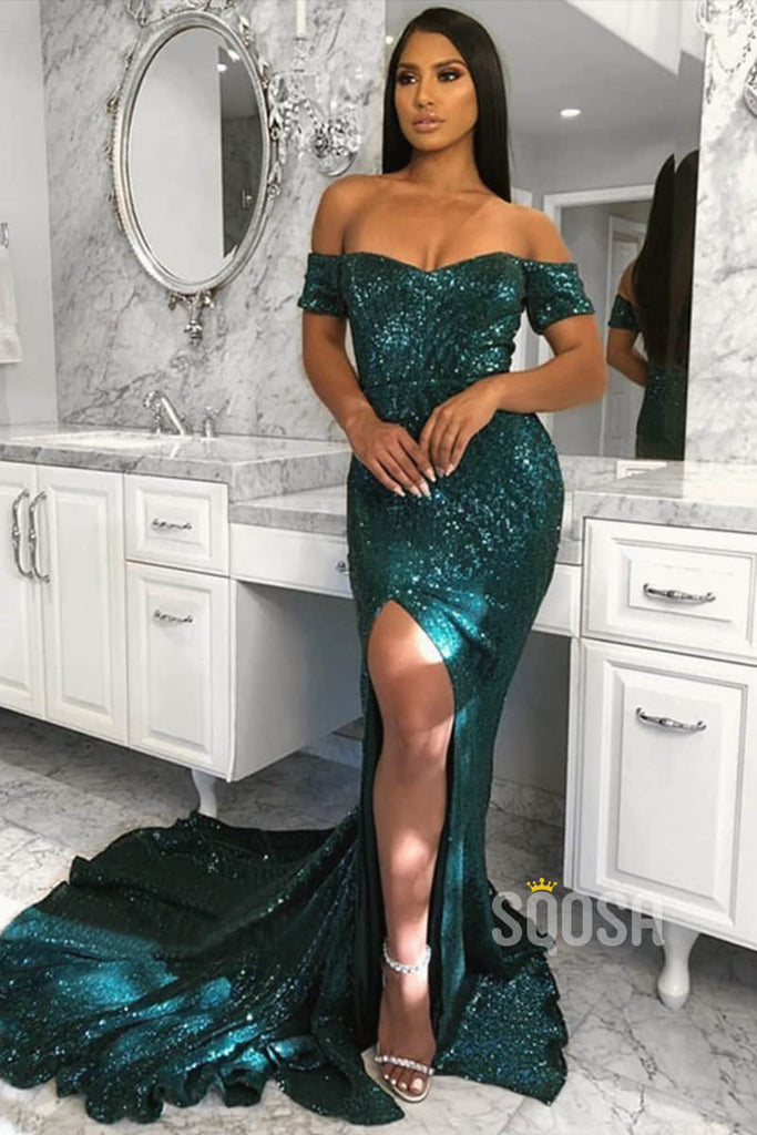 Mermaid/Trumpet Prom Dress Off-the-Shoulder High Split Long Formal Evening Gowns QP1339|SQOSA