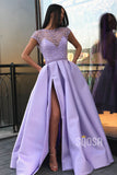 A-Line Lilac Satin Illusion Lace Top with Beadings High Split Long Prom Dress with Pockets QP1340
