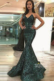Mermaid Prom Dress Sexy V-neck Green Sequins Formal Evening Gowns QP1341|SQOSA