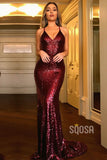 Mermaid/Trumpet Prom Dress Burgudny Sequins V-neck Long Formal Evening Gowns QP1345|SQOSA