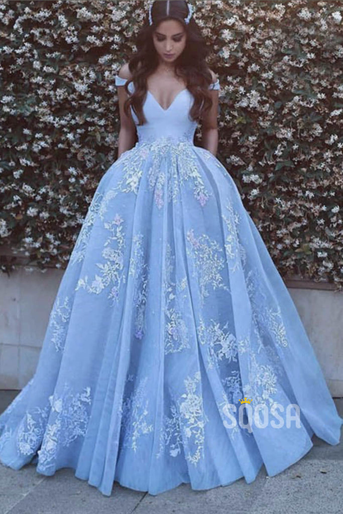 Ball Gown Sky Blue Tulle Appliques Long Prom Dress with Pockets QP1347|SQOSA