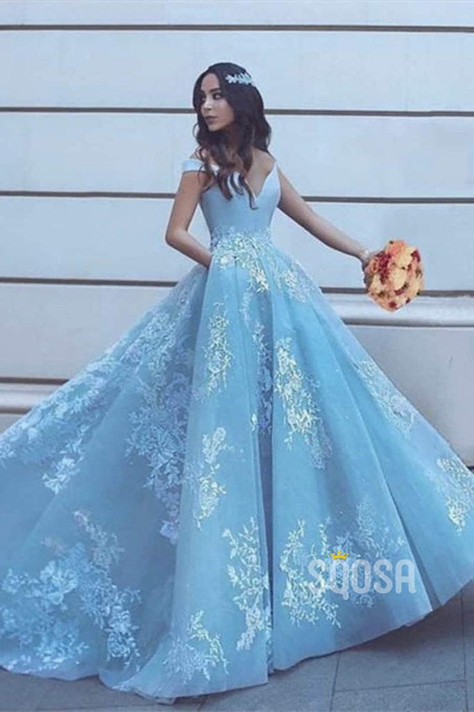Ball Gown Sky Blue Tulle Appliques Long Prom Dress with Pockets QP1347