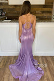 Chic Spaghetti Straps V-neck Lavender Mermaid Senior Prom Dress QP1349