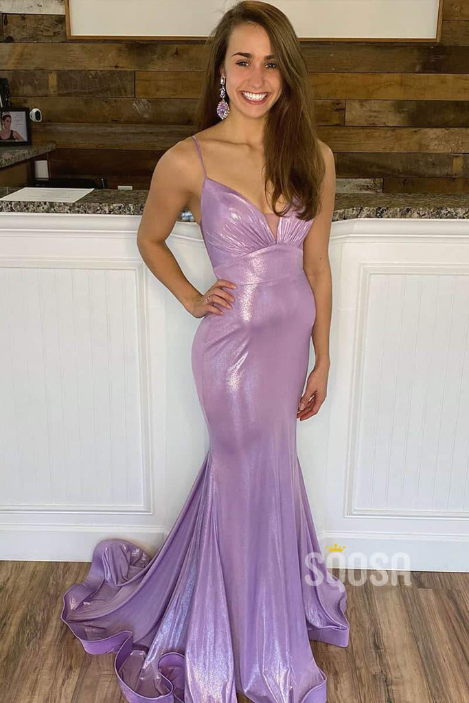 Chic Spaghetti Straps V-neck Lavender Mermaid Senior Prom Dress QP1349|SQOSA
