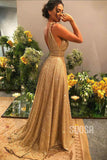 A-line Gold Sequins V-neck Sparkle Prom Dress Party Dress QP1354