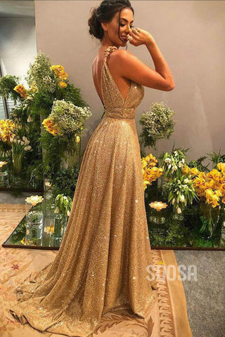 A-line Gold Sequins V-neck Sparkle Prom Dress Party Dress QP1354|SQOSA