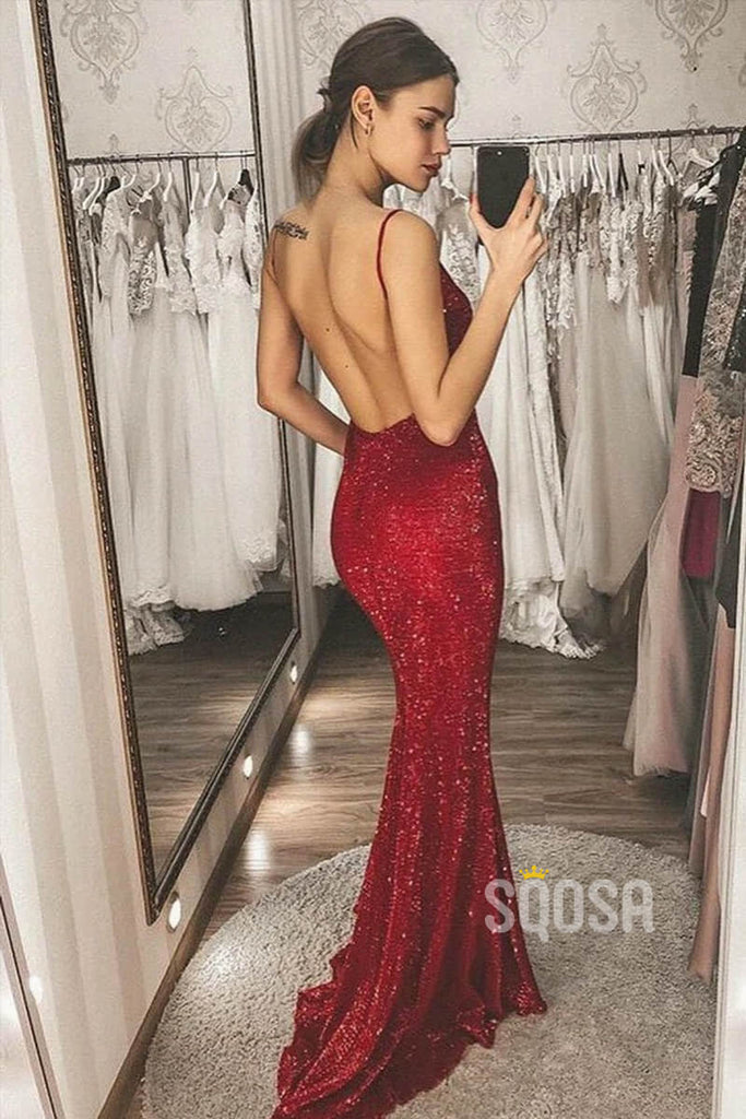 Mermaid/Trumpet Prom Dress Burgundy Sequined V-neck Sexy Party Dress Backless QP1356
