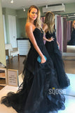 A-line V-neck Black Tulle Pleat Long Prom Dress Formal Evening Gowns QP1367
