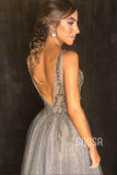 A-line Deep V-neck Tulle Beaded High Split Long Prom Dress Formal Evening Gowns QP1370