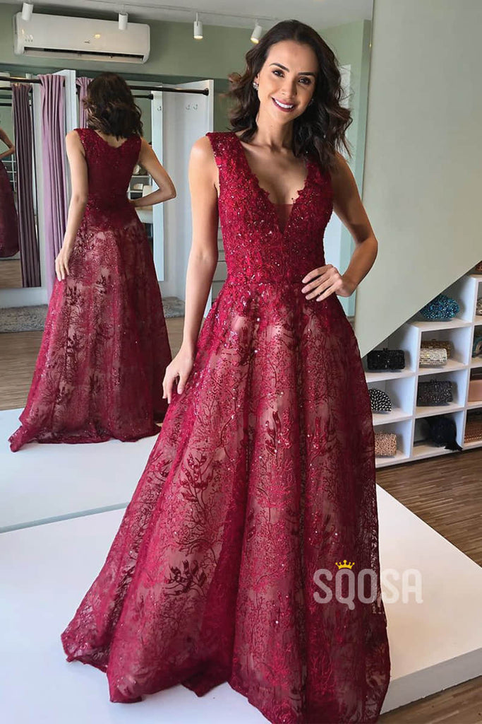 Burgundy Lace A-line V-neck Long Formal Evening Dress QP1376
