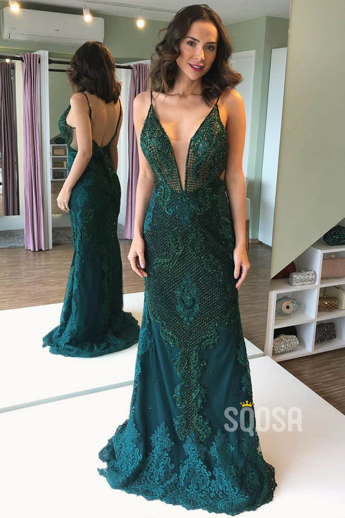 Sheath/Column Evening Dress Green Lace V-neck Long Prom Dress QP1378|SQOSA