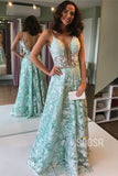 Exquisite Lace Spaghetti Straps V-neck A-line Long Prom Dress Formal Evening Gowns QP1379