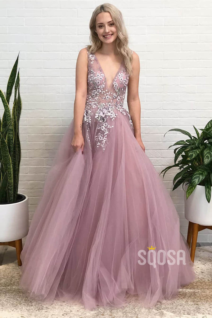 A-line Dusty Pink Tulle Appliques Long Senior Prom Dress QP1381|SQOSA