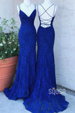 Royal Blue Lace Spaghetti Straps V-neck Mermaid Prom Dress QP1383