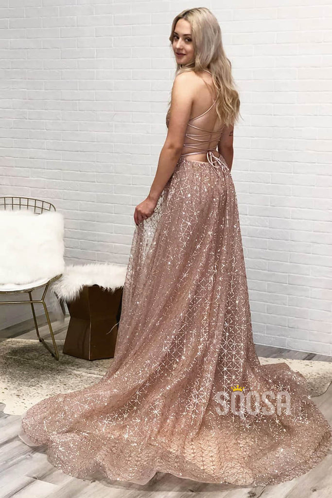 A-line V-neck Spaghetti Straps Sequins Prom Dress Formal Evening Gowns QP1384