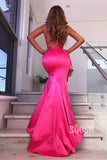 Fuchsia Satin Spaghetti Straps V-neck Mermaid Prom Dress with Slit QP1385