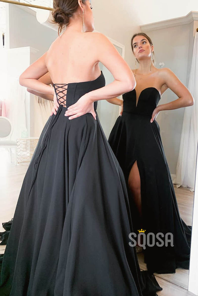 A-line Black Satin Strapless Long Simple Prom Dress with Slit QP1400|SQOSA