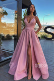 A-line V-neck Spaghetti Straps High Split Long Prom Dress with Pockets QP1404
