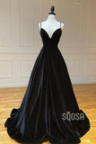 Black Velvet A-line V-neck Spaghetti Straps Long Simple Prom Dress QP1409|SQOSA