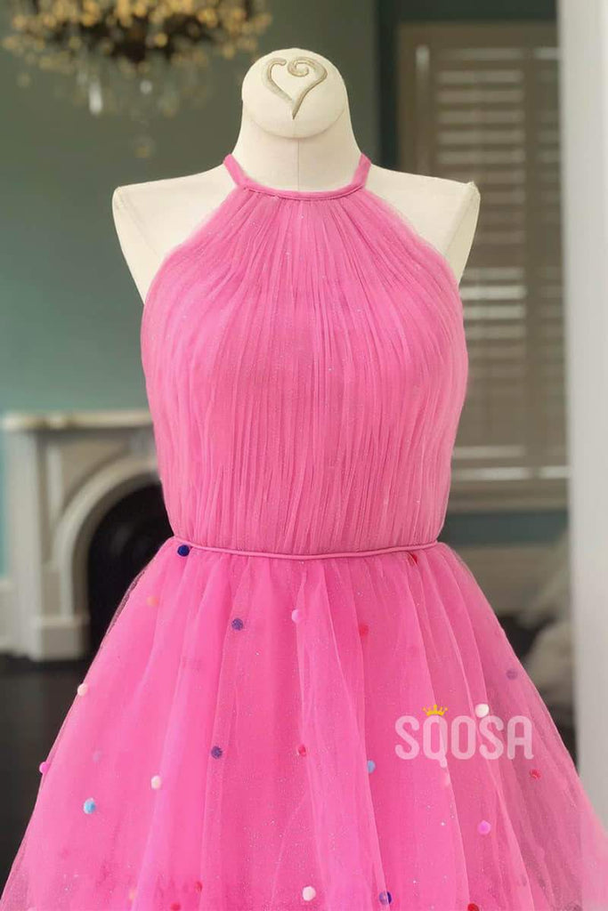 Hot Pink Tulle Pleat A-line Jewel Neckline Long Prom Dress QP1417|SQOSA
