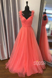 A-line V-neck Orange Organza Tulle Pleat Long Prom Dress QP1419