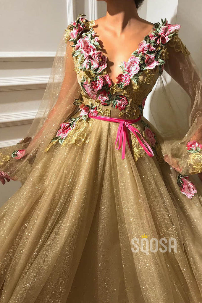 Chic 3D Appliques V-neck Long Sleeves Sparkle Prom Dress Formal Evening Gowns QP1430|SQOSA