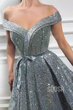 Off-the-Shoulder High Split A-Line Long Sparkle Prom Dress QP1432