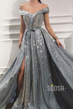 Off-the-Shoulder High Split A-Line Long Sparkle Prom Dress QP1432|SQOSA