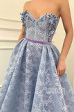 Sweetheart Beaded Blue Lace A-line Long Prom Dress with Pockets Formal Evening Gowns QP1433