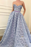 Sweetheart Beaded Blue Lace A-line Long Prom Dress with Pockets Formal Evening Gowns QP1433|SQOSA