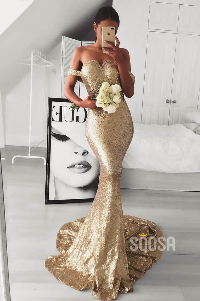 Off-the-Shoulder Gold Sequins Mermaid Prom Dress Formal Evening Gowns QP1439