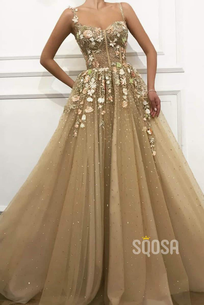 A-line Sweetheart Sparkle Tulle Appliques Long Prom Dress Formal Evening Gowns QP2081|SQOSA