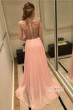 A-Line Chic High Neck Chiffon Beads Long Prom Dress Formal Evening Gowns QP2085