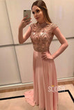 A-Line Chic High Neck Chiffon Beads Long Prom Dress Formal Evening Gowns QP2085|SQOSA