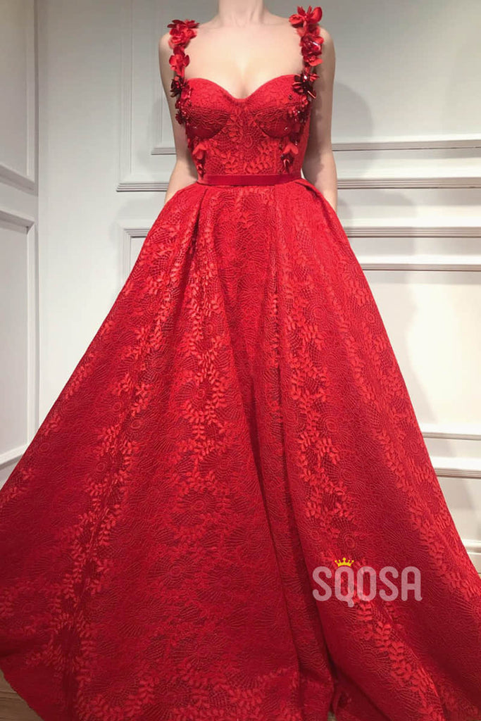 A-line Burgundy Lace Appliques Long Formal Evening Dress with Pockets QP2091