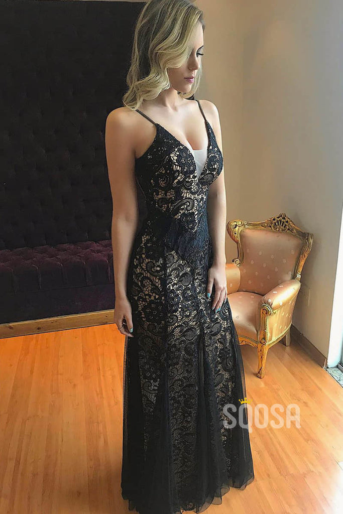 Sheath/Column Formal Evening Dress Chic Black Lace Spaghetti Straps Prom Dress QP2096|SQOSA