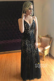 Sheath/Column Formal Evening Dress Chic Black Lace Spaghetti Straps Prom Dress QP2096