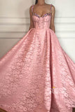 A-line Pink Lace Spaghetti Straps Beaded Long Prom Dress with Pockets QP2097