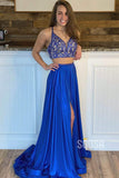 A-line Spaghetti Straps Beaded Royal Blue Two Piece Prom Dress with Slit QP2101|SQOSA