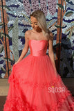 A-line Coral Tulle Strapless Long Prom Dress Formal Evening Gowns QP2102|SQOSA