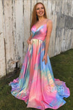 Spaghetti Straps V-neck A-Line Ombre Long Prom Dress with Pockets QP2104|SQOSA