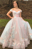 Chic Off-the-Shoulder A-line Tulle Appliques Long Prom Dress Formal Evening Gowns QP2105|SQOSA