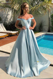 Unique Off-the-Shoulder Sky Blue Satin A-Line Long Simple Prom Dress QP2112|SQOSA