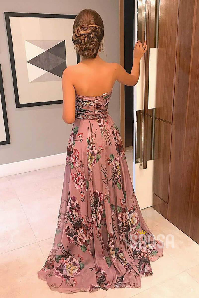 A-line Floral Chiffon Pleat Long Prom Dress Formal Evening Gowns QP2113|SQOSA
