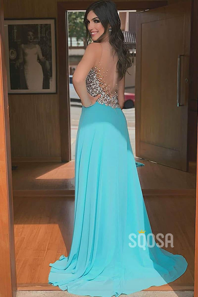 A-line Illusion Neckline Chiffon Beaded Long Prom Dress with Slit QP2114|SQOSA