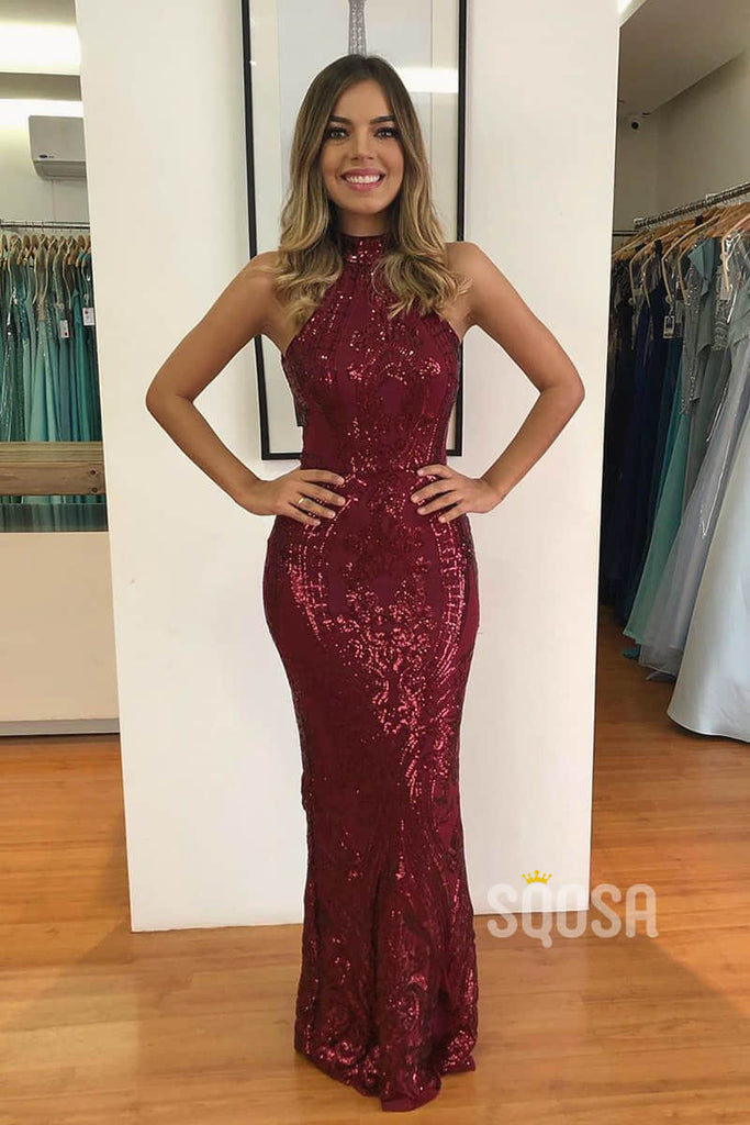 Chic Halter Burgundy Sequins Mermaid/Trumpet Prom Dress Formal Evening Gowns QP2116|SQOSA