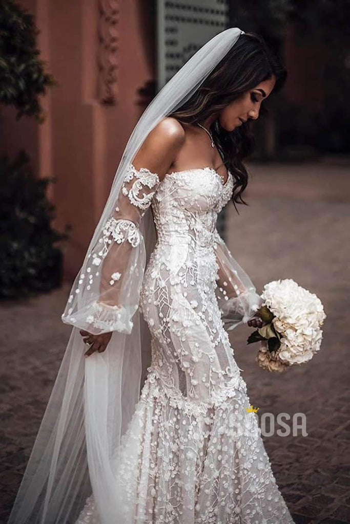 Luxury Lace Mermaid Wedding Dress Off-the-Shoulder Illusion Long Sleeve Bridal Gowns QW0831|SQOSA